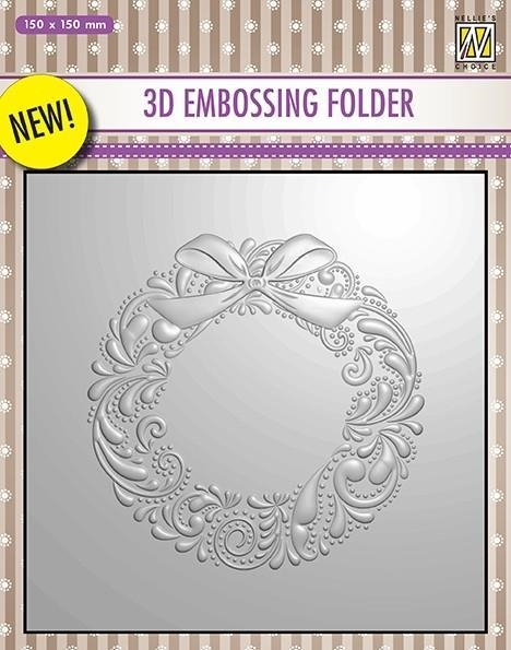 Nellie Snellen Embossing Folder Wreath 15x15cm