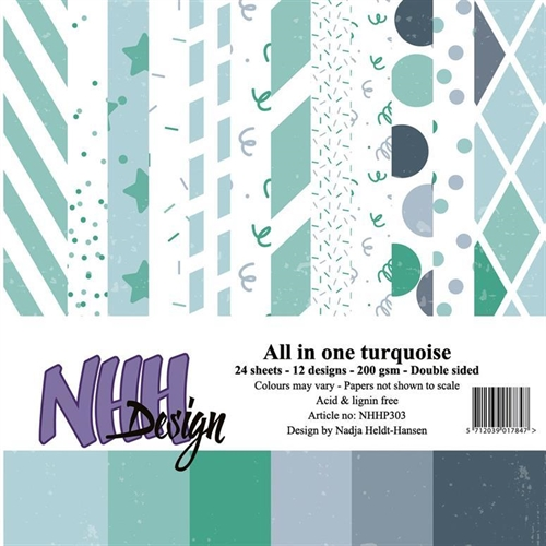 NHHP3003 NHH Papirblok All in one-turquise 2 x 12 design 15x15cm 200g