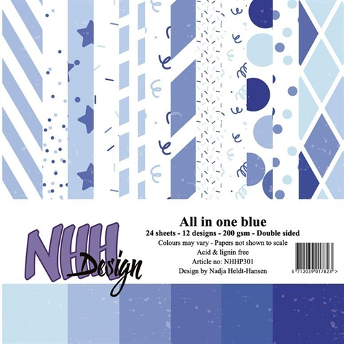 NHH Papirblok All in one-blue 2x12 desing 15x15cm 200g