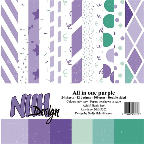 NHH Papirblok All in ove-purple 2 x 12 design 15x15cm 200g