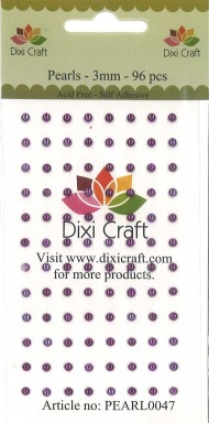 Dixi Craft Selvklæbende halvperler violet 3 mm 96 stk