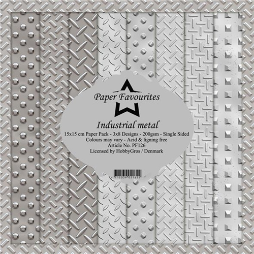 Paper Favourites Industrial Metal Paper Pack 15x15cm 3x8 design 200g