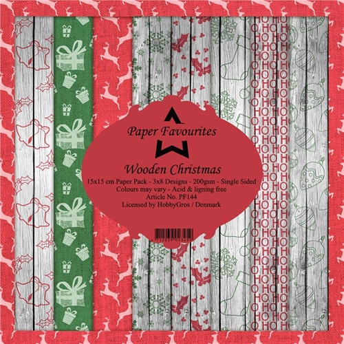 Paper Favourites Paper Pack Rustic Christmas 15x15cm 3x8 design 200g