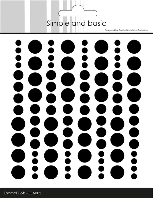 Simple and Basic Enamel Dots Jet Black 4-6-8mm 96 stk